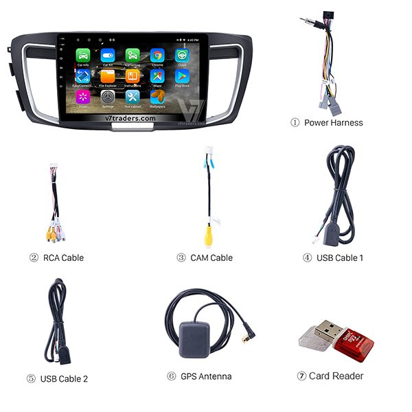 Honda Accord 2013-2017 Android V7 Navigation Accessories